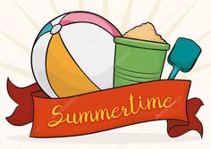 Summer with Beach Toys and Ribbon, Vector Illustration Beach Toys, Free Beach, Beach Ball, Summertime, Ribbon, Stock Photos, Illustration, Tape, Band