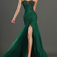 Sexy Mermaid Gown New mermaid gown with slit. Has sequins at the top. This dress is RED not green. Brand new. Size 6. Great for prom, homecoming, weddings or parties. Dresses Strapless