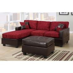 2 Pieces Modern Fabric Sectional with Ottoman Reversible Chaise