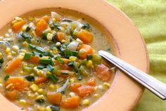 Squash, corn, and sweet potato combine to make a hearty chowder that's perfect for this time of year. Do try to use fresh corn if possible.