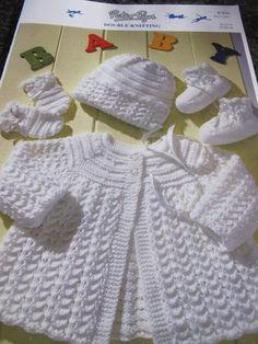Baby Knitting, Crochet Baby, Knit Crochet, Baby Doll Nursery, Baby Dolls, Knit Baby Dress, Knitted Baby Blankets, Peter Pan, Christening