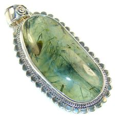 $58.50 Classy Green Moss Prehnite Sterling Silver Pendant at www.SilverRushStyle.com #pendant #handmade #jewelry #silver #prehnite