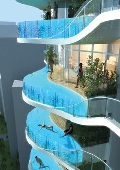 Hotel with swimming pools on the balconies