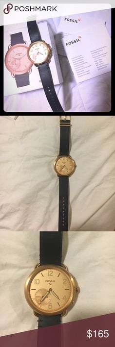 Fossil Q tailor rose gold face navy band NWB watch This smart watch is gorgeous! Navy band that you can also change! Large rose gold clear face! Never worn, brand new in box!  Activity Tracking: Built In Fitness Tracker Notifications: Social Media / Text / Email / App Alerts / Multiple Time Zones / Alarm Clock / Calendar Alerts Functions: Take a Picture / Control Your Music / Sleep Tracker / Step Tracker / Interchangeable Watch Band Connectivity: Bluetooth® Smart Enabled / 4.1 Low Energy…