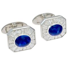 1970s Harry Winston Diamond & Sapphire Cufflinks | From a unique collection of vintage cufflinks at http://www.1stdibs.com/jewelry/cufflinks/cufflinks/