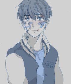 Anime boy | art | bruise | bondage | cute