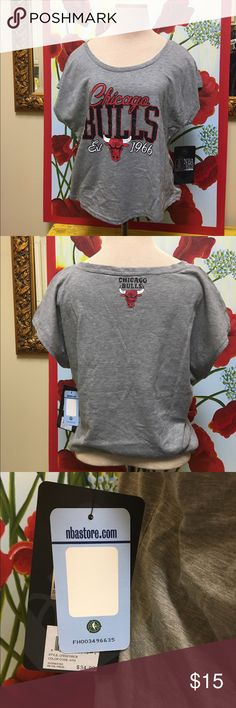 """Chicago Bulls basketball Tshirt Chicago Bulls heather gray Tshirt - size small. Stylish and comfy Tshirt with dolman short sleeves and black rhinestones on the """"BULLS"""". New with tags. Tops Tees - Short Sleeve"""