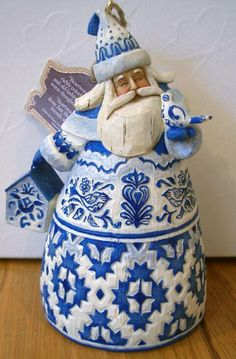 Blue and White Santa Bell by Jim Shore, Heartwood Creek