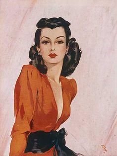 David Wright December 1912 – 25 May Vintage Girls, Vintage Art, Fashion Illustration Vintage, Vintage Illustrations, Female Pictures, Commercial Art, Romance, Sketch Painting, Arte Pop