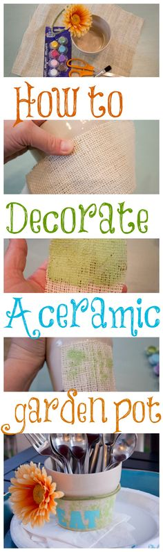 How to decorate a ceramic garden pot with burlap and stencils. Makes such a cute utensil holder for your a patio