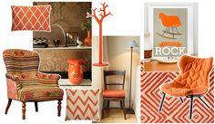 Een moodboard met oranje woonaccessoires en meubels.