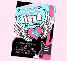 Girly Rockstar Birthday Invitation by BriezeeBoutique on Etsy