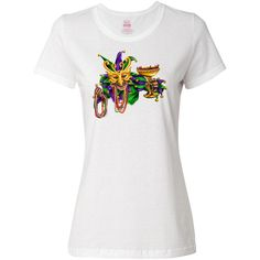 InktasticInc Mardi Gras Jester Women's T-Shirt by Inktastic (20 AUD) ❤ liked on Polyvore featuring tops, t-shirts, white, women's clothing, beaded top, white beaded top, white tee, white t shirts e white tops