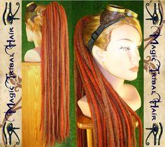 yarn dreadlocks | STEAMPUNK henna brown DREADLOCKS EXTENSION yarn dread hair falls ...