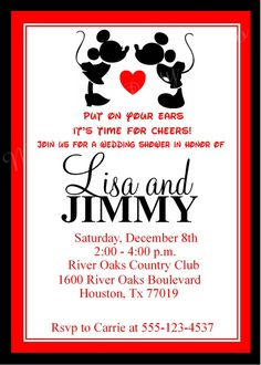 Mickey Mouse & Minnie Mouse Wedding Shower by MyPerfectPartyStudio, $5.00