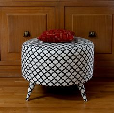 Recycled Spool Ottoman by modhomeec.com as featured in Ready Made Magazine