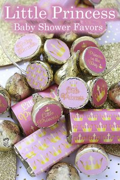 These Pink and Gold Little Princess Baby Shower favor stickers are the perfect final detail to add to your upcoming royal girl baby shower. #Littleprincess #princessbabyshower Baby Shower Favors Girl, Baby Shower Candy, Baby Shower Purple, Baby Shower Thank You Cards, Baby Girl Shower Themes, Girl Baby Shower Decorations, Gold Baby Showers, Baby Shower Princess, Baby Princess
