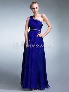 Elegant One Shoulder Chiffon LongBridesmaid Dress
