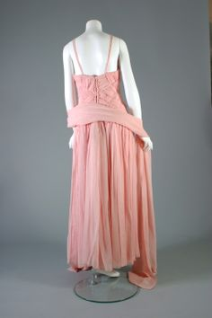 1984 Guy LAROCHE HAUTE COUTURE latticed pink chiffon ball gown | From a collection of rare vintage evening dresses at http://www.1stdibs.com/fashion/clothing/evening-dresses/