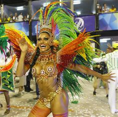 Image: Members of the Mocidade samba school dance in Rio de Janeiro. (© William Volcov/News Free/LatinContent/Getty Images)