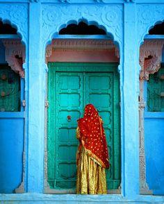Woman in the Muslim section of Jodhpur, India, Jim Zuckerman