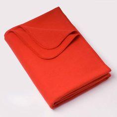 Cotton Flannel Throw in Poppy Orange | Modern Bedding | Unison