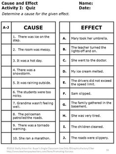 Cause and Effect Activities, Special Education Reading Comprehension Worksheets Cause And Effect Worksheets, Cause And Effect Activities, Reading Comprehension Worksheets, Reading Strategies, 2nd Grade Worksheets, 4th Grade Reading, Education Quotes For Teachers, Teaching Activities, Special Education