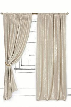 Love the luster and sparkle these window coverings provide. Perfect bedroom! Gilded Waves Curtain #anthropologie, #PinToWin
