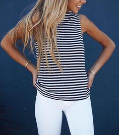 101 Style Tips To Wear A Striped Outfits - Fazhion Casual Outfits, Cute Outfits, Fashion Outfits, Striped Outfits, Passion For Fashion, Love Fashion, Classic Fashion, Preppy Style, Style Me
