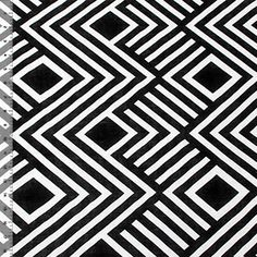 Black Aztec Diamond Stripe Cotton Jersey Blend Knit Fabric
