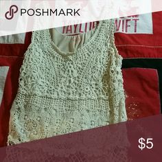 Cute lace tank top A really cute cream lace tank top size Small.  Worn once.  Really cute for summer festivals and such. mudd Tops