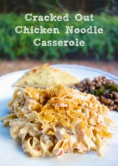Cracked Out Chicken Noodle Casserole. 4 cups cooked chopped chicken 2 cans cream of chicken soup 16 oz sour cream 1 (1oz) packet Ranch dressing mix 3 oz bacon pieces 1 cup cheddar cheese 12 oz egg noodles 1 cup crushed Fritos