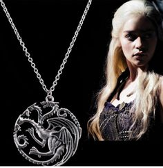 The Song Of Ice And Fire Game Of Thrones Daenerys Targaryen Dragon Badge Necklace 56cm