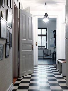black & white checked floors