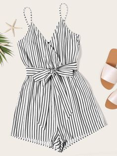 cbff2d5867 Striped Wrap Cami Romper With Belt - Popviva #summer #year #fall #spring