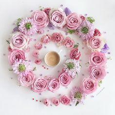 I Love Coffee, Coffee Art, Romantic Flowers, Beautiful Flowers, Flower Crown, Flower Art, Coffee Flower, Peony Print, Flower Phone Wallpaper