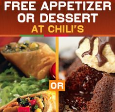 Chili's Grill & Bar Coupon: FREE Appetizer or Dessert