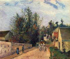 Camille Pissarro.  Postkutsche nach Ennery. 1877, Öl auf Leinwand, 46 × 55 cm. Paris, Musée d'Orsay. Frankreich. Impressionismus.  KO 01874