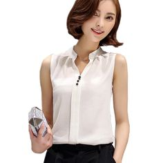 Hot Women Blouses Summer Fashion Sleeveless Solid Tops Tunic Blouses Chiffon Casual Ladies Shirt Ladies Shirt Blusas Plus Size White Office, Shirt Blouses, Shirts, Blouses For Women, Chiffon, Plus Size, Blazer, Womens Fashion, Female Tops