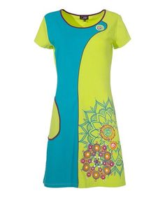 Look what I found on #zulily! Lime & Teal Color Block Pocket Shift Dress - Plus Too #zulilyfinds  $20