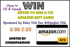 $75 Amazon Gift Card Giveaway | Parenting Patch: Enter to win one (1) $75 Amazon gift card. Open to legal residents of the United States of America and Canada. Ends on July 25, 2014.