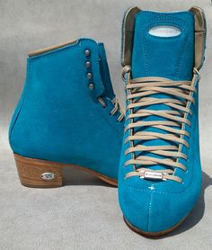 Ask your Riedell Authorized Dealer for Peacock Suede! These look amazing and set off our innovative cork leather soles that reduce weight. Learn more on our custom skates page. Roller Skating Rink, Ice Skating, Figure Skating, Custom Boots, Reduce Weight, Timberland Boots, Cork, Peacock