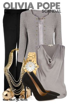 """Scandal"" by wearwhatyouwatch ❤ liked on Polyvore featuring Salvatore Ferragamo, American Apparel, Marie Chavez, River Island, Folli Follie, black and gold, multi-strand necklaces, chronograph watches, wide leg trousers and tweed blazers"