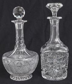 Two Cut Glass Decanters Cut Glass, Decanter, Solid Gold, Auction, American, Nice, Decor, Decoration, Carafe