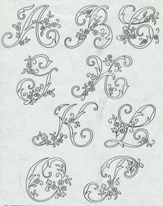 Bordados Tambour, Tambour Embroidery, Embroidery Alphabet, Embroidery Monogram, Hand Embroidery Stitches, Embroidery Hoop Art, Ribbon Embroidery, Embroidery Designs, Alphabet Drawing