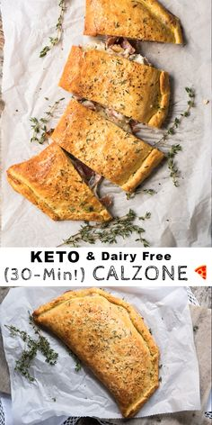 This gluten free and keto calzone pays a great homage to the classic Italian turnovers made with pizza dough. This one, however, uses our (dairy free!) keto dough to yield an awesome low carb dish. Dairy Free Keto Recipes, Dairy Free Pizza, Dairy Free Cheese, Ketogenic Recipes, Low Carb Recipes, Cooking Recipes, Healthy Recipes, Ketogenic Diet, Diet Recipes