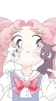 Chibi moon, luna and artemis Sailor Chibi Moon, Arte Sailor Moon, Diana Sailor Moon, Et Wallpaper, Cartoon Wallpaper, Sailor Mercury, Sailor Moon Crystal, Sailor Jupiter, Animes Wallpapers