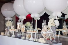 Cake Buffet. Balloons and Candles. These aren't our balloons but we can definitely recreate these for your function. Plain white is so elegant and classic. www.thepartyshere.com.au