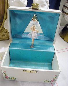 I think every girl my age had one of these musical jewelery boxes. The ballerina would fold flat when the lid was closed; when you wound the key and opened the lid, she would pop up and revolve--like she was dancing en pointe.