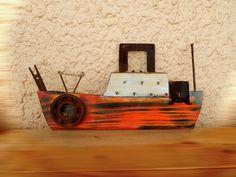 orange 1 little ship Driftwood Projects, Driftwood Art, Wood Block Crafts, Boat Art, Wood Boats, Summer Crafts, Pebble Art, Nautical, Coastal